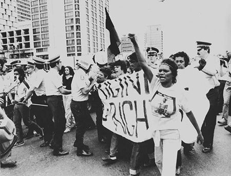 Protestors at the 1982 Commonwealth Games in Brisbane.