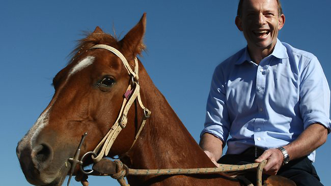 Tony Abbott enjoys are horse ride in the Northern Territory