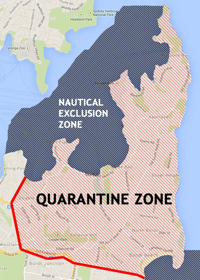 The extent of the quarantine zone. Including nautical boundaries.
