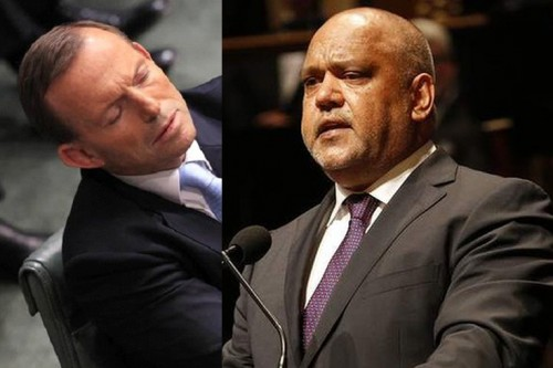 Tony Abbott, briefly caught on camera during an audience pan, sleeps his way through Noel Pearson's eulogy for Gough Whitlam