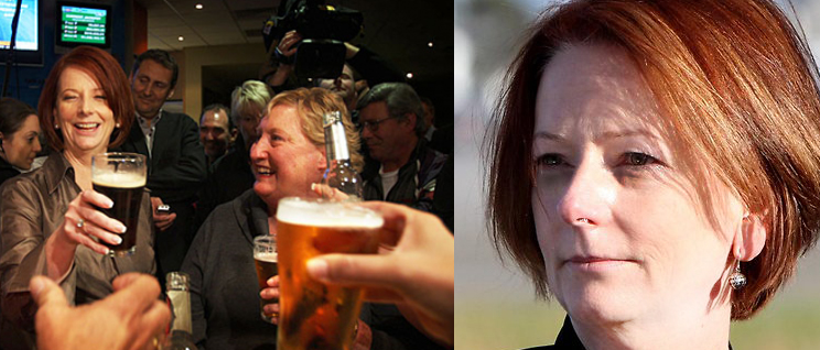 Julia Gillard celebrates her landmark Melbourne Cup win (left) Gillard arriving dishevvelled to Gough Whitlam's state funeral (right)