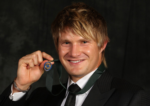 Happier Times: A younger Shane Watson poses with the Allan Border Medal at Crown Casino on February 15, 2010