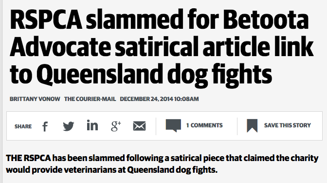 The Courier Mail reporting the issue at hand, incorrectly refers to us as a 'satirical' newspaper.