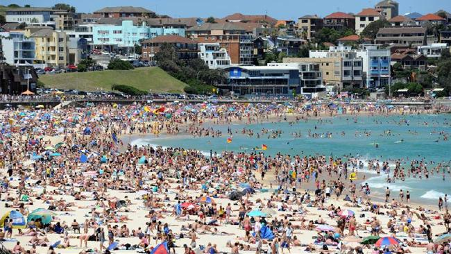 "Bondi Beach, Sydney. Usually a hot-spot for ""Flag-Capes"" on Australia Day"