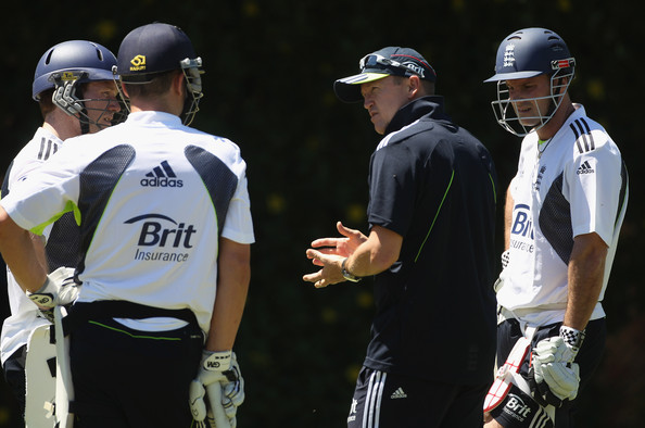 """The English side has been described as """"more like a united nations team"""" - Pictured: Eoin Morgan (Irish), coach Andy flower (Zimbabwe) and former captain Andrew Strauss (South Africa)"""