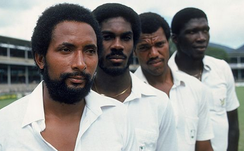 Getty West Indian fast bowlers Andy Roberts, Michael Holding, Colin Croft and team manager, Joel Garner in the West Indies glory days