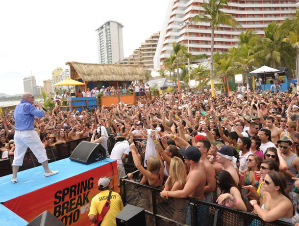 Pitbull performs at MTV Spring Break Acapulco, 2010