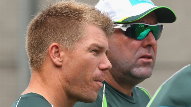 David Warner with his mentor and coach Darren Lehmann - a fellow racist.