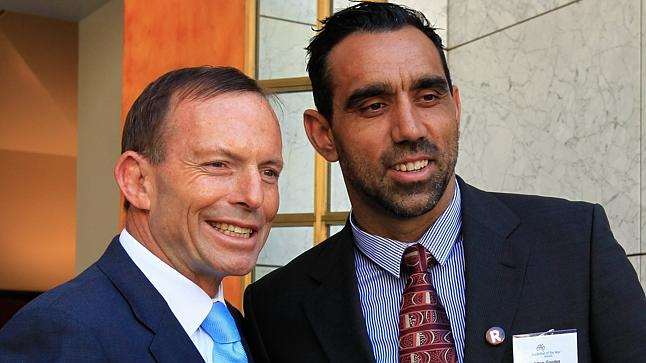 "Tony Abbotts poses with Australian of the year, Adam Goodes.  A man he describes as a ""sensible blackfella"" because he decided to leave his rural hometown and live in Sydney."