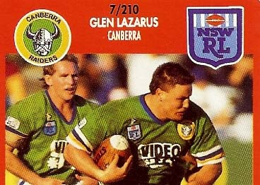 "Glenn Lazarus trucks it up for the Raiders in his heyday. An era that saw ""The brick with eyes"" notch an NRL premiership"