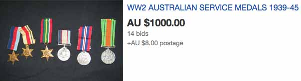 A screenshot of the ebay listing that show Mr Bushnell's medals