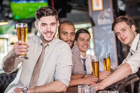 """Nick (left) and his mates say that they really """"give it a go"""" each ANZAC Day"""