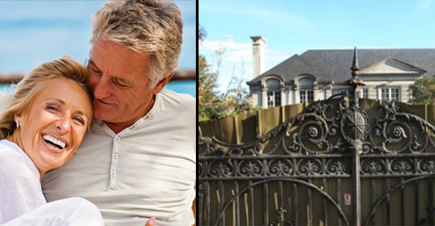 LEFT: Adrienne and Vince during their honeymoon last year, RIGHT: Their Toorak mansion has been blocked off from media after announcing that they were seeking legal advice