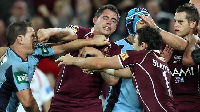 Grown men fight eachother in an emotional display of emotion. Not a good look for contemporary Brisbane