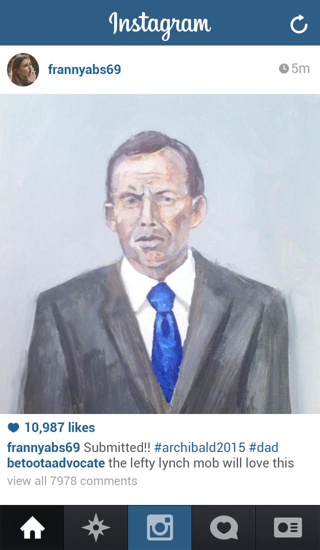 Frances Abbott's instagram upload, yesterday afternoon.