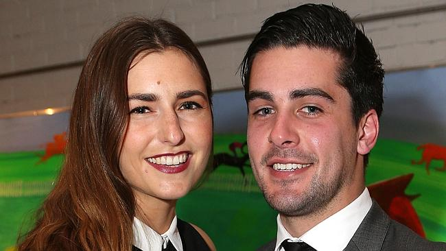 The Prime Minister's daughter, Frances Abbott, poses at a Archibald luncheon with her long-term housemate, Muhammad Dib