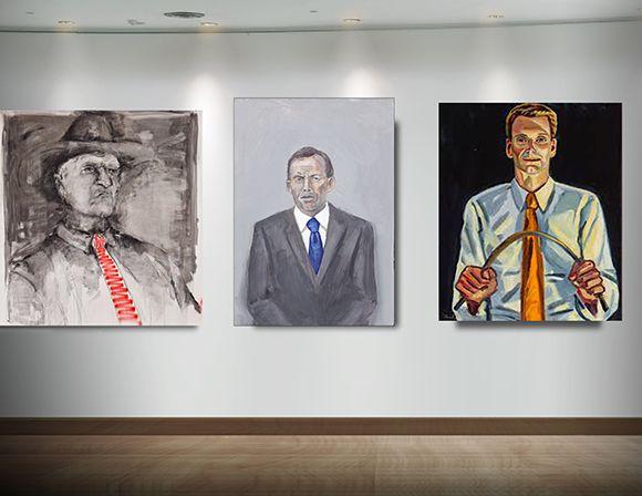 The first official portrait of Tony Abbott sits between two similarly conservative politicians, Bob Katter MP and Senator Bernardi