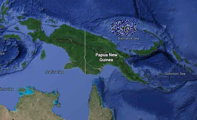 "Manus Island, according to the Google Maps ""Earth"" setting."