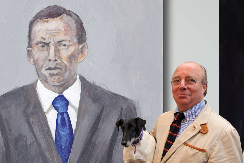 """Multiple Archibald winner, Tim Storrier poses with the portrait of his close friend Tony Abbott. Storrier tells SMH that he is """"certain Frances will take him this year's prize"""""""