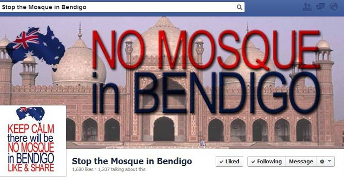 The Bendigo Mosque opponents have taken to social media to promote their cause. Using a photograph of the Taj Mahal.