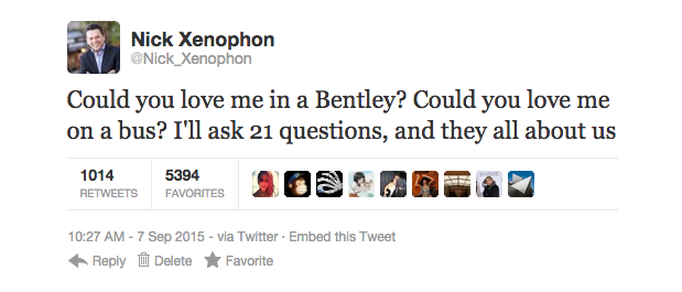 Senator Xenophon all but confirms his new love by tweeting lyrics to 50 Cent's 21 Questions.