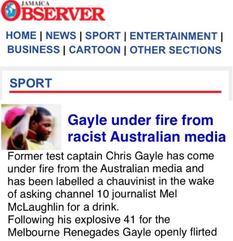 The Jamaica Observer writes about the Chris Gayle incident from a Caribbean perspective.